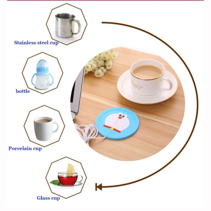 USB Warmer Gadget Cartoon Silicone thin Cup-Pad Coffee Tea Drink usb Heater Tray Mug Pad nice Gift 4