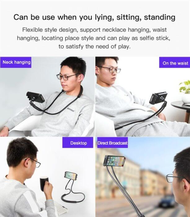 Lazy Neck Phone Holder Stand For iPhone x xiaomi Desk 360 Degree Rotation Mobile Phone Mount Bracket Cell Phone Holder Stand 5