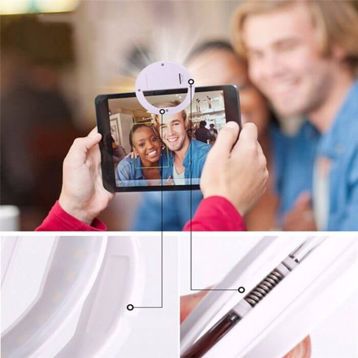 Selfie LED Ring Flash Lumiere Telephone Portable LED Mobile Phone Light Clip Lamp For iPhone xr telefoon lens lampka do telefonu 2