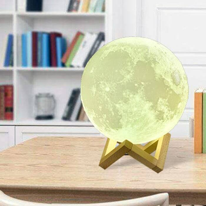 Rechargeable Moon Lamp 2 Color Change 3D Light Touch Switch 3D Print Lamp Moon Bedroom Bookcase Night Light Creative Gifts 1