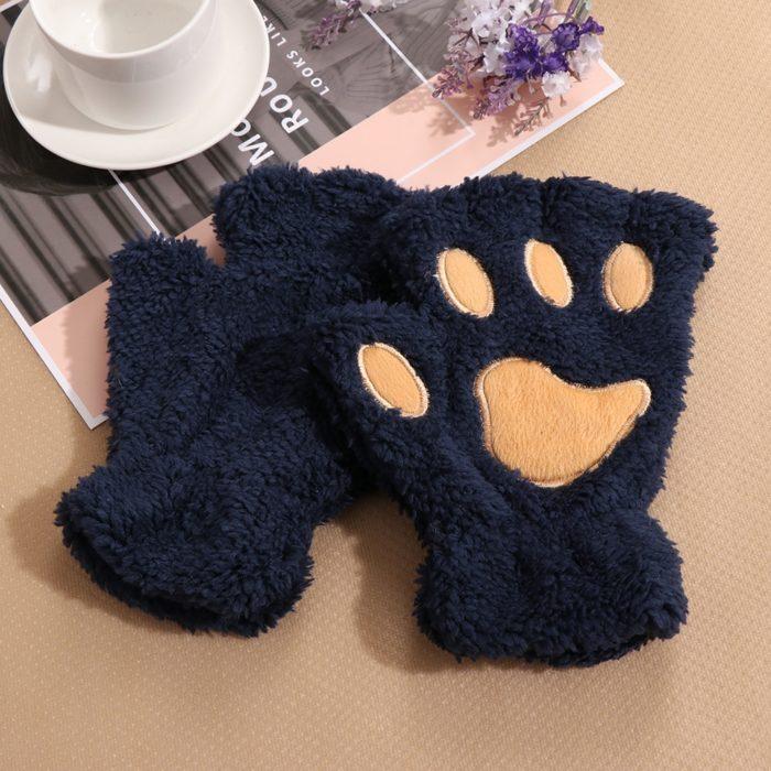 1Pair Women Girls Lovely Winter Warm Fingerless Gloves Fluffy Bear Cat Plush Paw Claw Half Finger Gloves Mitten New 4