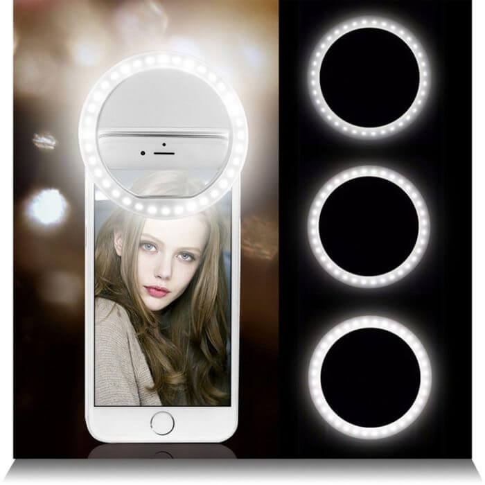 Selfie LED Ring Flash Lumiere Telephone Portable LED Mobile Phone Light Clip Lamp For iPhone xr telefoon lens lampka do telefonu