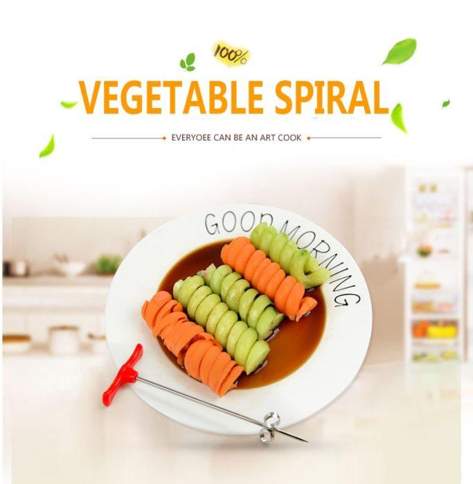 Arsmundi kitchen accessories gadget Stainless Creative Scroll vegetable Cutter fruit Vegetable Spiral knife kitchen gadgets