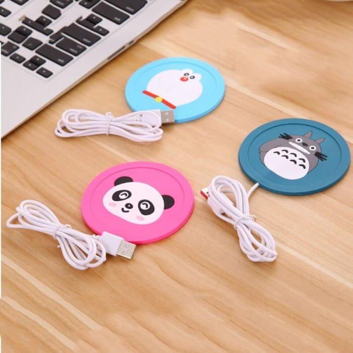 USB Warmer Gadget Cartoon Silicone thin Cup-Pad Coffee Tea Drink usb Heater Tray Mug Pad nice Gift 2