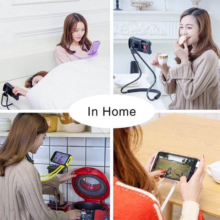 Lazy Neck Phone Holder Stand For iPhone x xiaomi Desk 360 Degree Rotation Mobile Phone Mount Bracket Cell Phone Holder Stand 4
