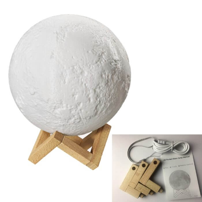 Rechargeable Moon Lamp 2 Color Change 3D Light Touch Switch 3D Print Lamp Moon Bedroom Bookcase Night Light Creative Gifts 2