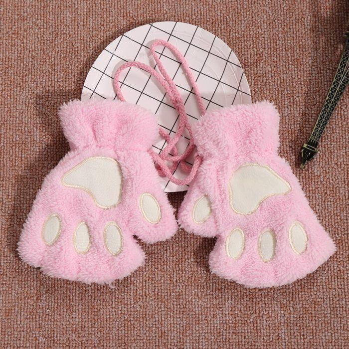 1Pair Women Girls Lovely Winter Warm Fingerless Gloves Fluffy Bear Cat Plush Paw Claw Half Finger Gloves Mitten New 1