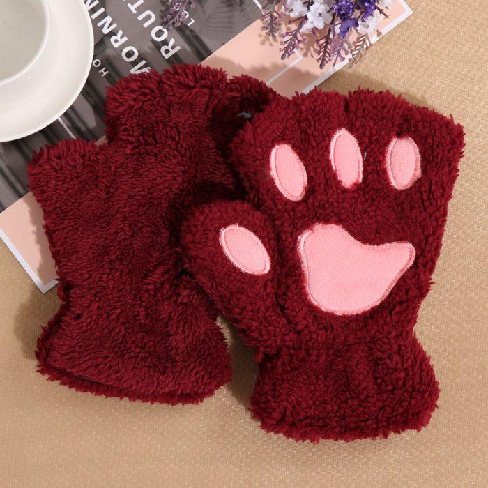 1Pair Women Girls Lovely Winter Warm Fingerless Gloves Fluffy Bear Cat Plush Paw Claw Half Finger Gloves Mitten New 3