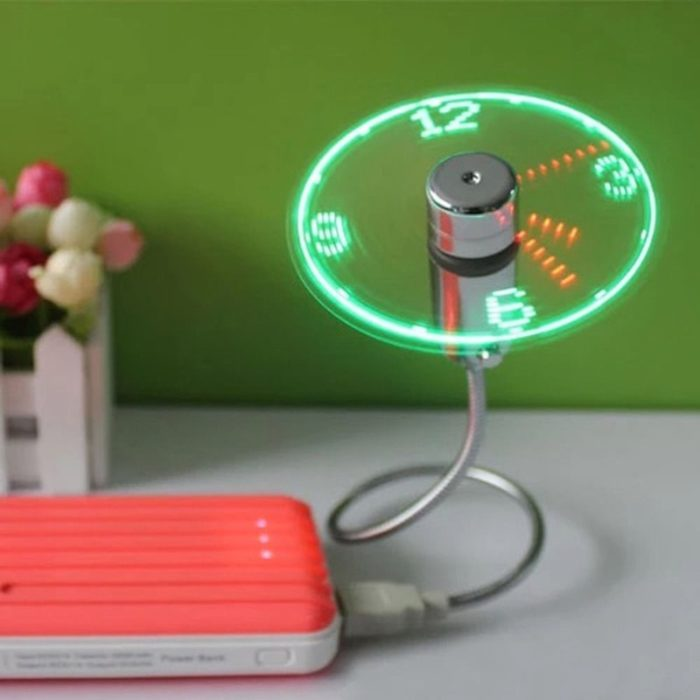 Hand Mini USB Fan portable gadgets Flexible Gooseneck LED Clock Cool For laptop PC Notebook real Time Display durable Adjustable 1