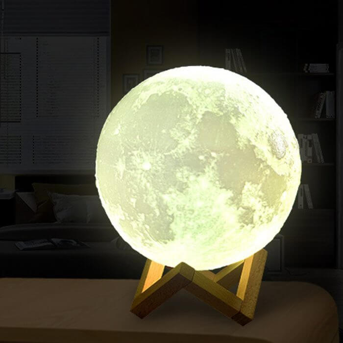 Rechargeable Moon Lamp 2 Color Change 3D Light Touch Switch 3D Print Lamp Moon Bedroom Bookcase Night Light Creative Gifts 3