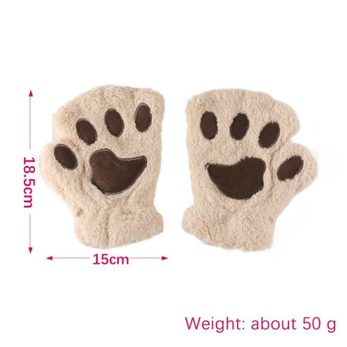 1Pair Women Girls Lovely Winter Warm Fingerless Gloves Fluffy Bear Cat Plush Paw Claw Half Finger Gloves Mitten New 5