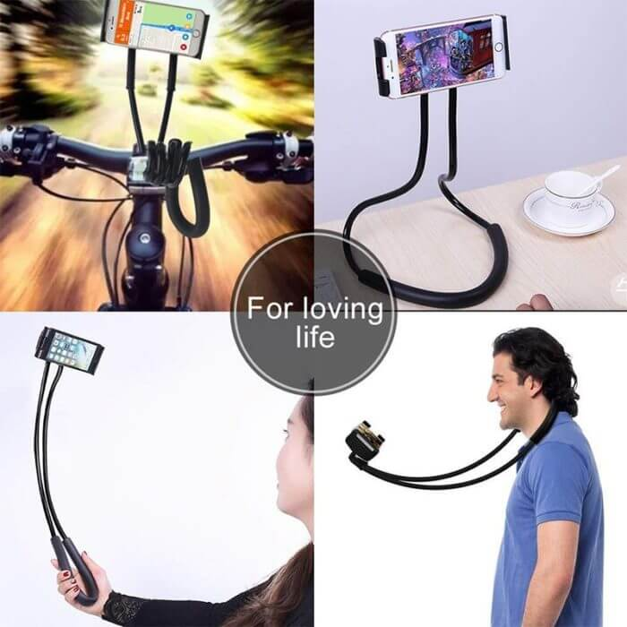 Lazy Neck Phone Holder Stand For iPhone x xiaomi Desk 360 Degree Rotation Mobile Phone Mount Bracket Cell Phone Holder Stand
