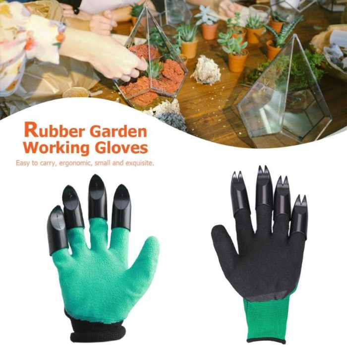 4pcs ABS Plastic Claws Gloves Supplies Garden Plant Digging Protective Safety Party Decor Household Tools Garden Hand Gloves 2