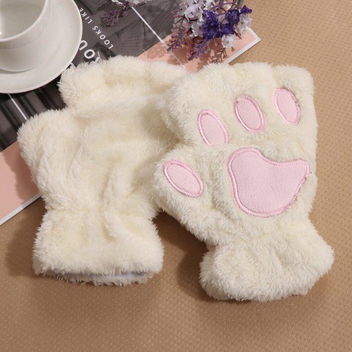 1Pair Women Girls Lovely Winter Warm Fingerless Gloves Fluffy Bear Cat Plush Paw Claw Half Finger Gloves Mitten New 2