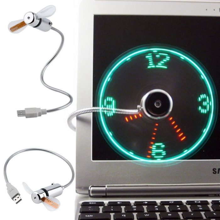 Hand Mini USB Fan portable gadgets Flexible Gooseneck LED Clock Cool For laptop PC Notebook real Time Display durable Adjustable 2