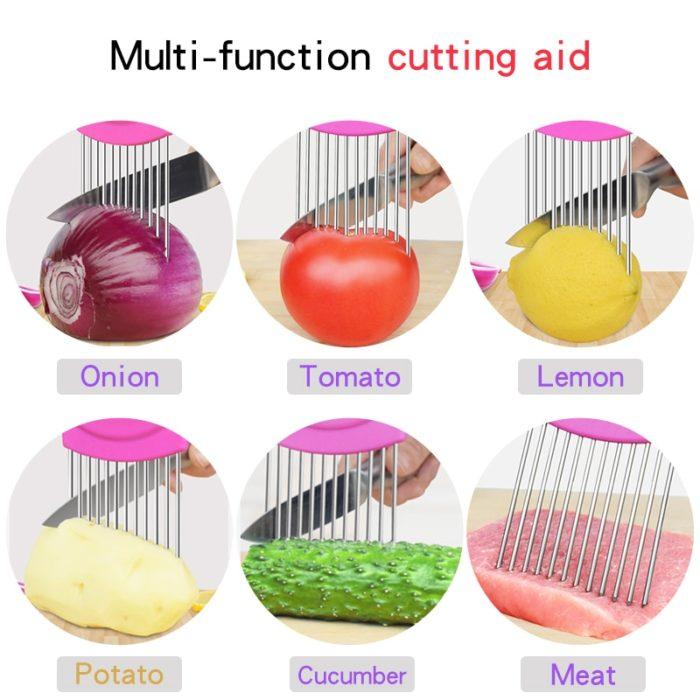 2019 New Kitchen Gadgets Onion Slicer Tomato Vegetables Safe Fork vegetables Slicing Cutting Tools 16
