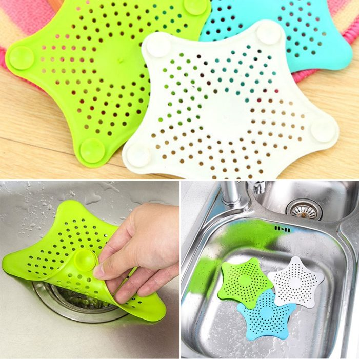 HOT Star Silicone Sink Strainers Sewer Outfall Filter Sewer Drain Hair Colander Bathroom Cleaning Kitchen Gadgets Accessories 2