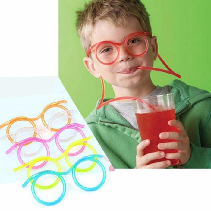 1PC Fun Soft Plastic Straw Funny Glasses Flexible Drinking Toys Party Joke Tube Tools Kids Baby Birthday Party Funny Gadgets 1