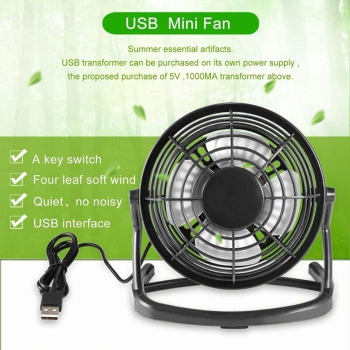 USB Gadget Portable USB Mini Fans Small Desk 4 Blades Cooler Cooling Fan DC 5V Operation Super Mute Silent PC Laptop Notebook 2