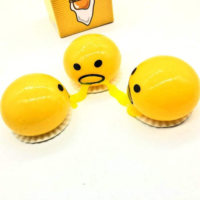 Squishy Vomitive Egg Yolk Yellow Lazy Egg Joke Toy Ball Egg Squeeze Funny Toys AntiStress Whole person vomiting disgusting egg 5
