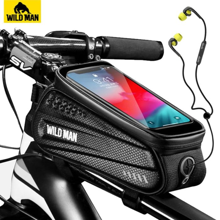 WILD MAN Rainproof Bicycle Bag Frame Front Top Tube Cycling Bag Reflective 6.5in Phone Case Touchscreen Bag MTB Bike Accessories 1