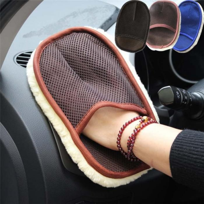 Car Styling 15*24cm Automotive Car Cleaning Car Brush Cleaner Wool Soft Car Washing Gloves Cleaning Brush Motorcycle Washer Care 18