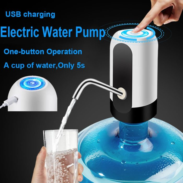 Home Gadgets Water Bottle Pump Mini Barreled Water Electric Pump USB Charge Automatic Portable Water Dispenser Drink Dispenser 2