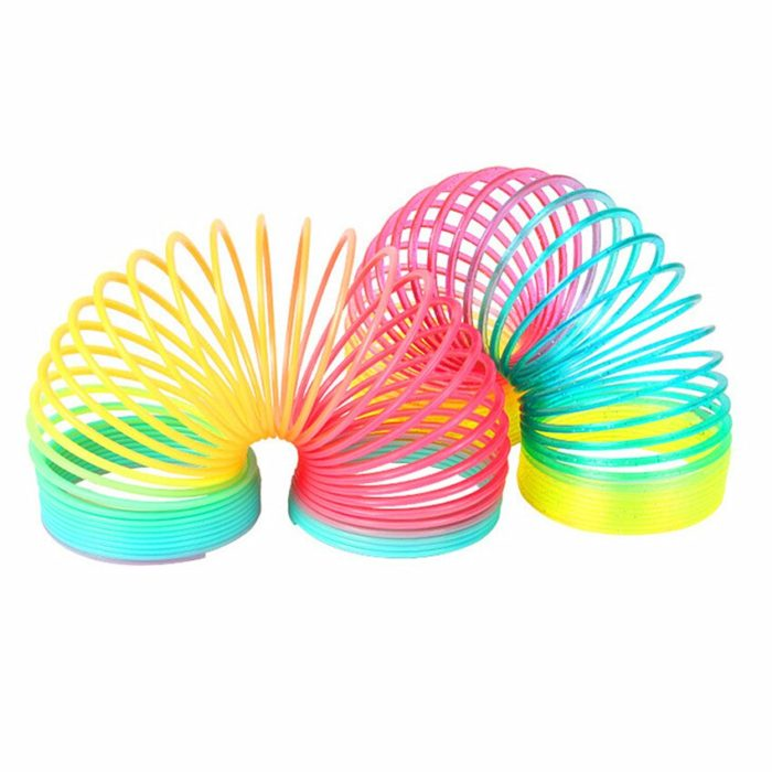 1pcs Rainbow Circle Funny Toys Early Development Educational  Folding Plastic Spring Coil Children's Creative Magical Toys 4