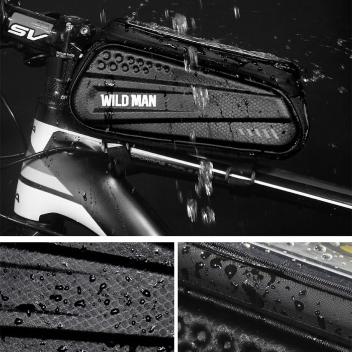 WILD MAN Rainproof Bicycle Bag Frame Front Top Tube Cycling Bag Reflective 6.5in Phone Case Touchscreen Bag MTB Bike Accessories 5