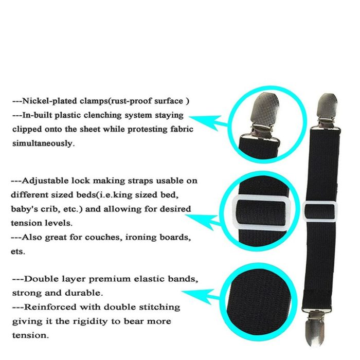 4Pcs/set Elastic Bed Sheet Grippers Belt Fastener Bed Sheet Clips Mattress Cover Blankets Holder Home Textiles Organize Gadgets 6