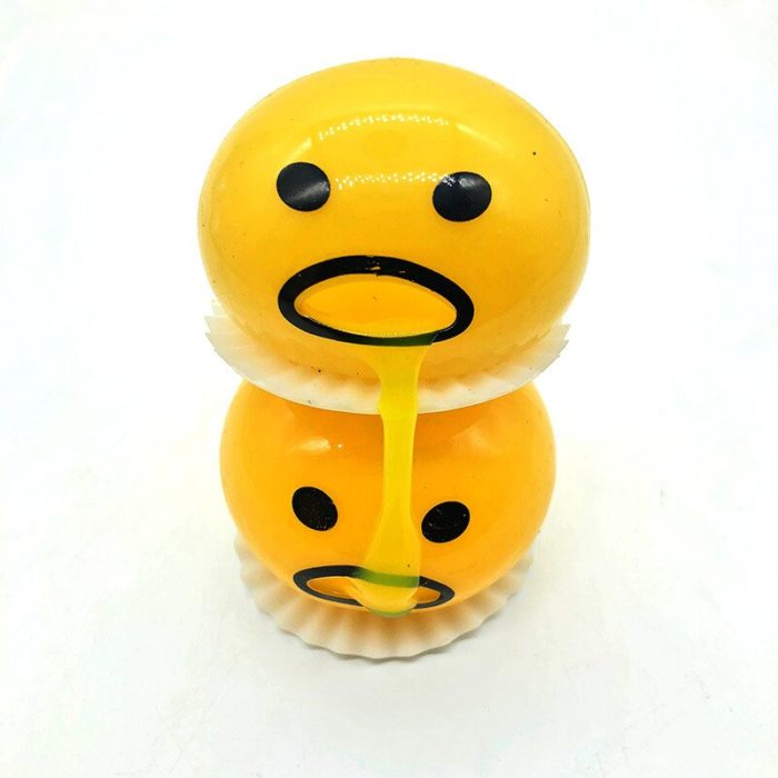 Squishy Vomitive Egg Yolk Yellow Lazy Egg Joke Toy Ball Egg Squeeze Funny Toys AntiStress Whole person vomiting disgusting egg 6