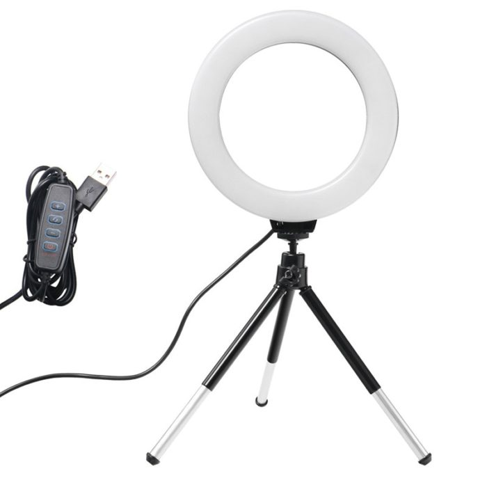 6inch Mini LED Desktop Video Ring Light Selfie Lamp With Tripod Stand USB Plug For YouTube Live Photo Photography Studio 1