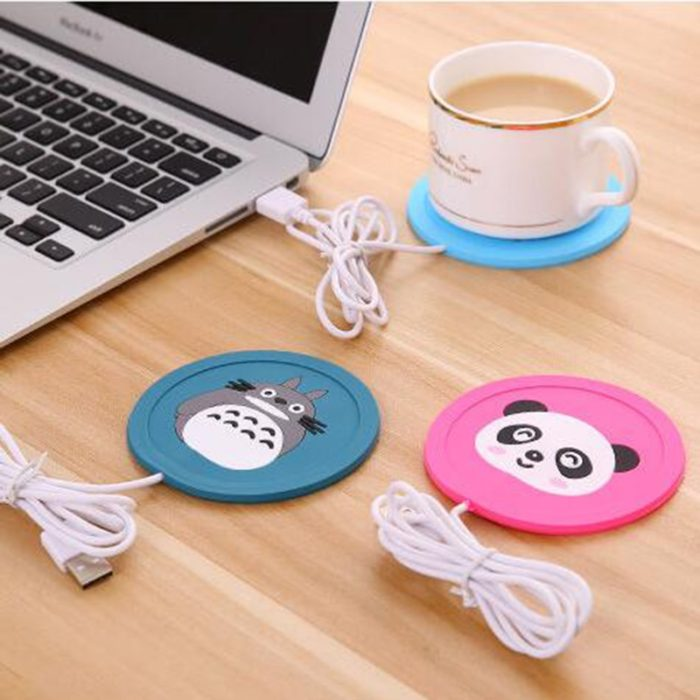 USB Warmer Gadget Cartoon Silicone thin Cup-Pad Coffee Tea Drink usb Heater Tray Mug Pad nice Gift 1