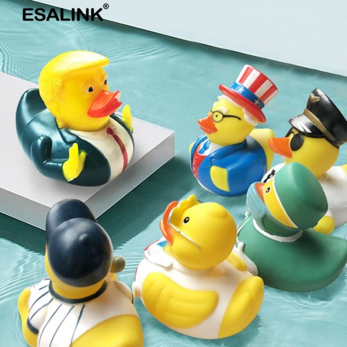 ESALINK 10CM Baby Bathing Toys Us President Trump Fun Rubber Duck Children'S Bath Shower Waterfloating Yellow Duck Decoration 6