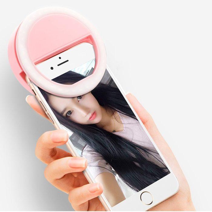 Rovtop USB charge LED Selfie Ring Light for Iphone Supplementary Lighting Selfie Enhancing Fill Light For Phones 4