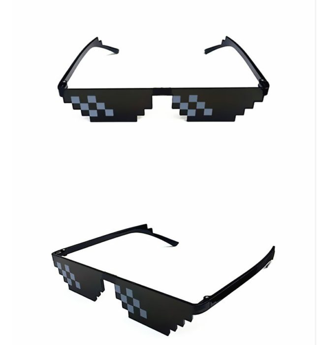 Gags Mosaic Sunglasses Trick Toy Thug Life Glasses Deal With It Glasses Pixel Women Men Black Mosaic Sunglasses Funny toy 18