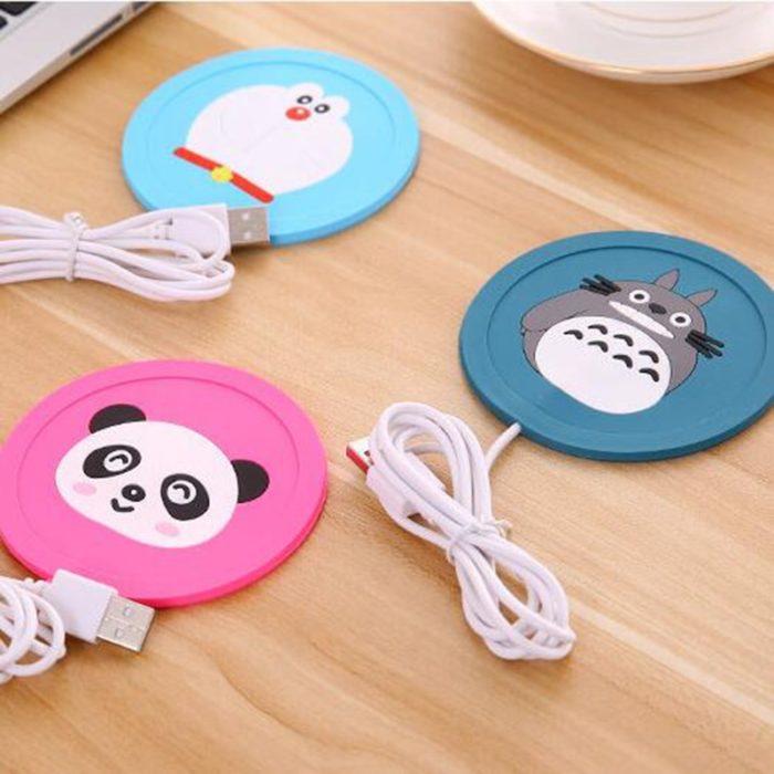 USB Warmer Gadget Cartoon Silicone thin Cup-Pad Coffee Tea Drink usb Heater Tray Mug Pad nice Gift 5