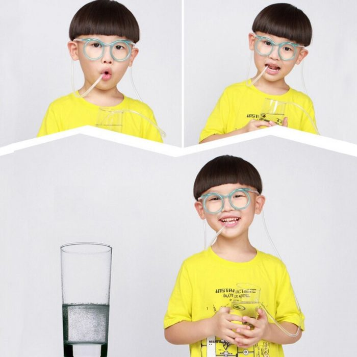 1PC Fun Soft Plastic Straw Funny Glasses Flexible Drinking Toys Party Joke Tube Tools Kids Baby Birthday Party Funny Gadgets 5