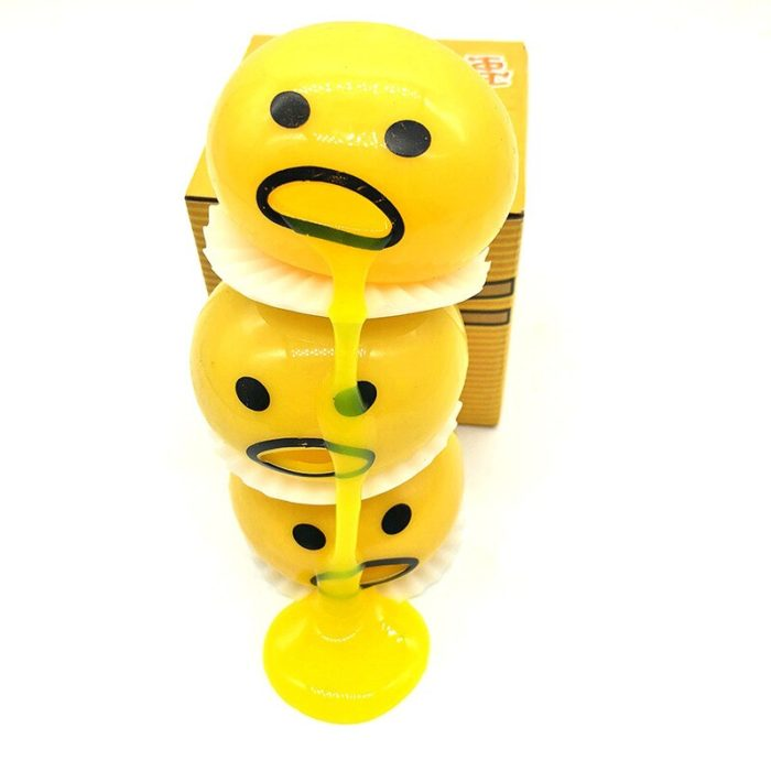 Squishy Vomitive Egg Yolk Yellow Lazy Egg Joke Toy Ball Egg Squeeze Funny Toys AntiStress Whole person vomiting disgusting egg 3