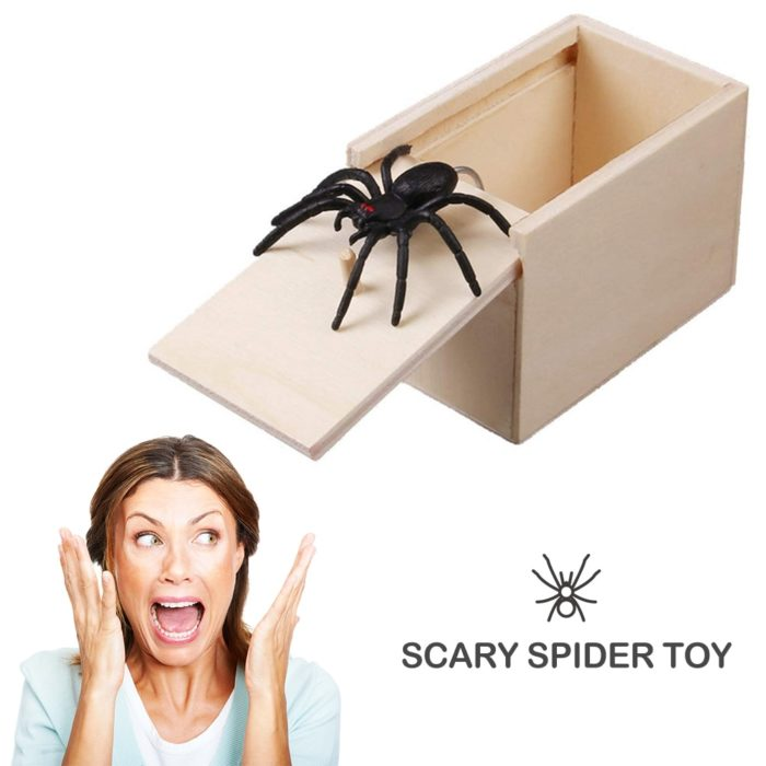 April Fool's Day gift Wooden Prank Trick Practical Joke Home Office Scare Toy Box Gag Spider Mouse Kids Funny Gift 4