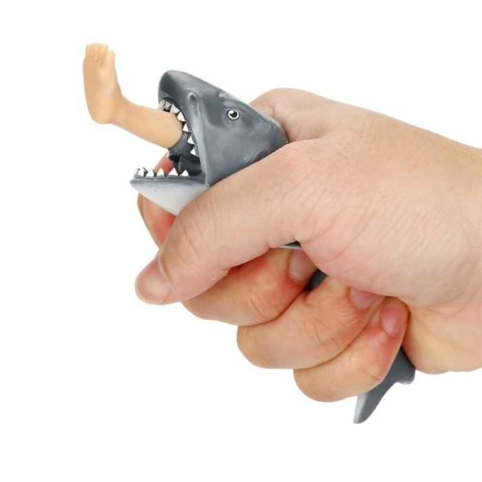 1pc Anti Stress Squeeze Toy Creative Biting Leg Shark Toy Plastic Funny Spoof Trick Gift for kids freeshipping 2