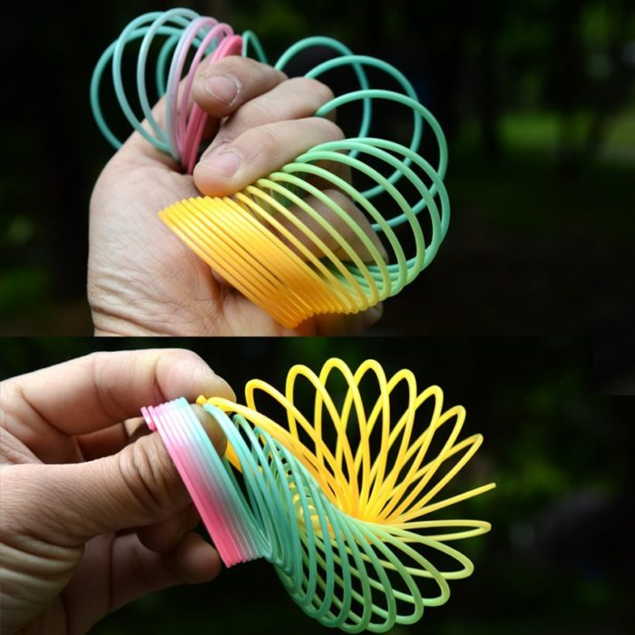 1pcs Rainbow Circle Funny Toys Early Development Educational  Folding Plastic Spring Coil Children's Creative Magical Toys 14