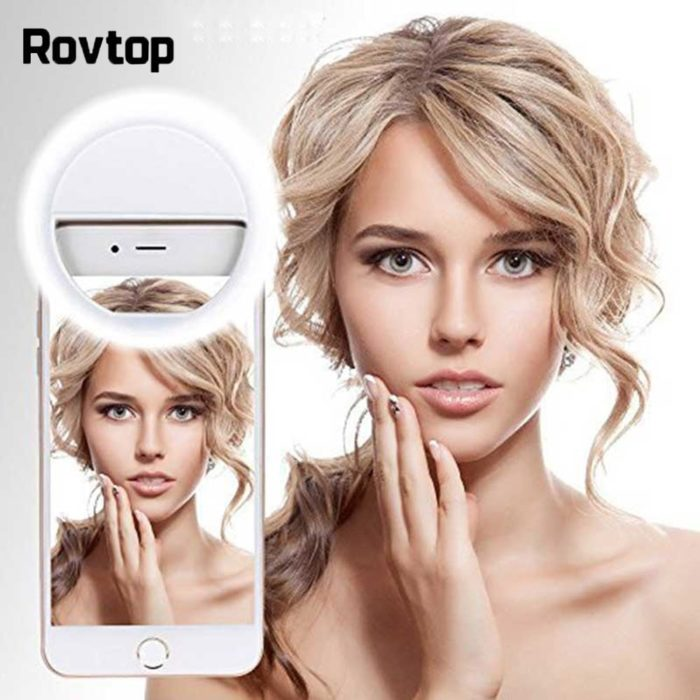 Rovtop USB charge LED Selfie Ring Light for Iphone Supplementary Lighting Selfie Enhancing Fill Light For Phones 1