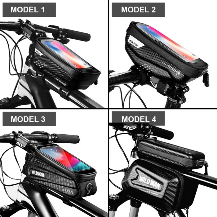 WILD MAN Rainproof Bicycle Bag Frame Front Top Tube Cycling Bag Reflective 6.5in Phone Case Touchscreen Bag MTB Bike Accessories 6