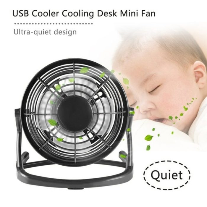 USB Gadget Portable USB Mini Fans Small Desk 4 Blades Cooler Cooling Fan DC 5V Operation Super Mute Silent PC Laptop Notebook 1