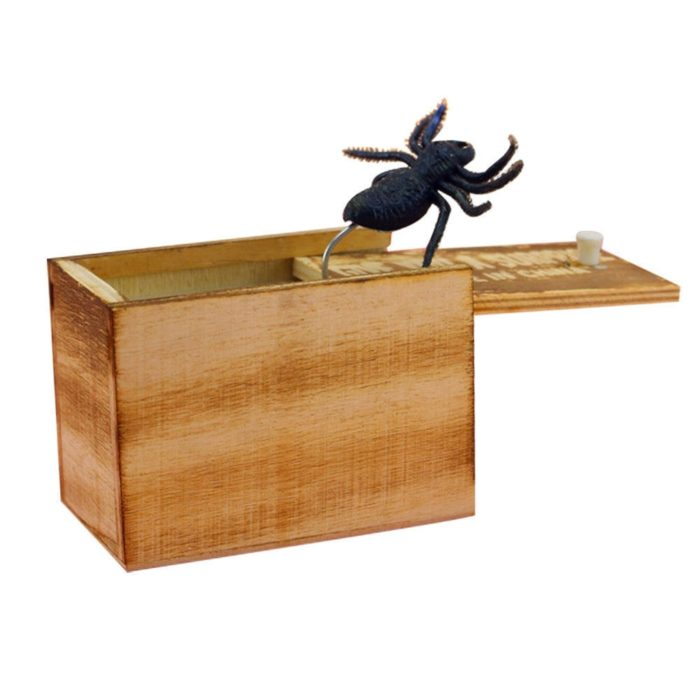 April Fool's Day gift Wooden Prank Trick Practical Joke Home Office Scare Toy Box Gag Spider Mouse Kids Funny Gift 2