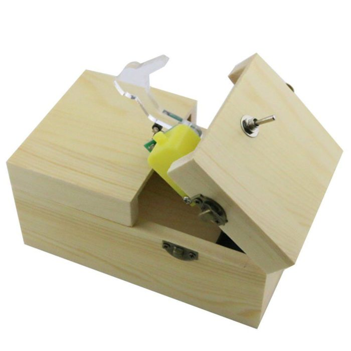 Assembled Funny Tricky Toys Turns Itself Off Useless Box Leave Me Alone Creative Machine Wood Box Geek Gifts or Desk Toys 6