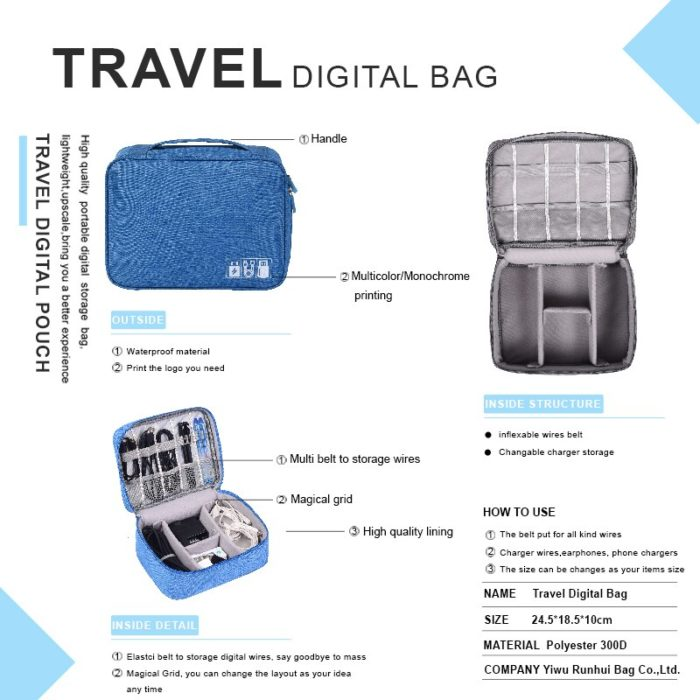 Portable Digital Storage Bags Organizer USB Gadgets Cables Wires Charger Power Battery Zipper Cosmetic Bag Case Accessories Item 5