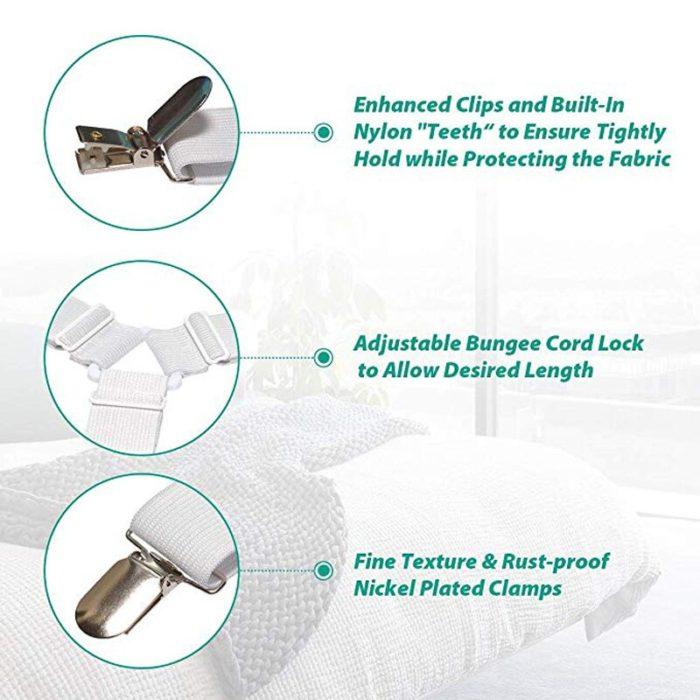 4Pcs/set Elastic Bed Sheet Grippers Belt Fastener Bed Sheet Clips Mattress Cover Blankets Holder Home Textiles Organize Gadgets 4