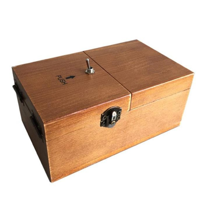 Assembled Funny Tricky Toys Turns Itself Off Useless Box Leave Me Alone Creative Machine Wood Box Geek Gifts or Desk Toys 2